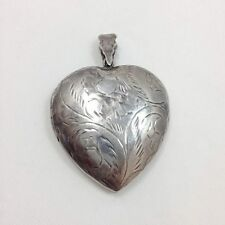Vintage Large Engraved Filigree Heart Shape Locket Sterling Silver 925 FMGE
