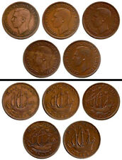 Rare 1937,1945, 1946, 1951 & 1952 UK Great Britain George VI king Half Penny Lot