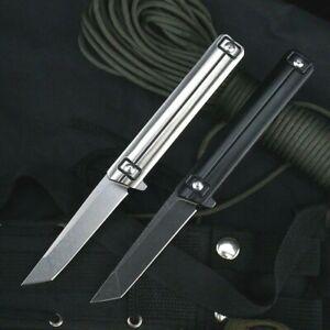 Tanto Folding Knife Pocket Flipper Hunting Survival Tactical Combat D2 Blade EDC