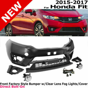 For 15-17 Honda Fit Complete Front Factory Style Bumper Kit Lower Grille Foglamp