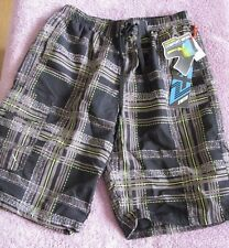 NWT Zero Exposure Swim Trunks Black & Gray W/Pockets, Mesh Lining Mens Size L