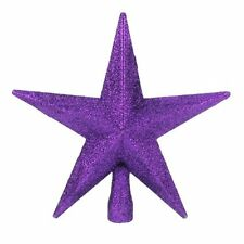 Christmas Decoration Tree Top 200mm Shatterproof Glitter Star - Purple