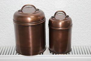 Boltze - 2 Dekodosen, Aufbewahrungsdosen mit Deckel, rund in Bronze-Design
