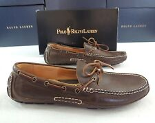 $250 Men Polo Ralph Lauren Rowland Luxe Tumbled Leather Loafer Driving Shoes 8.5