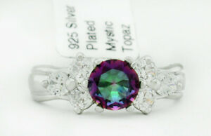 MYSTIC TOPAZ 0.85 Cts & WHITE SAPPHIRES RING SILVER PLATED NWT Size 4.75
