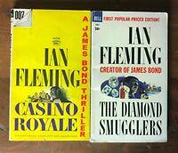 Lot 2 Vintage James Bond Signet Dell PB Ian Fleming Casino Royale Diamond