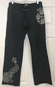 Lucky Brand Embroidered Peacock Floral Sweatpants Lounge Navy Blue Stretch