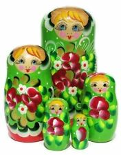 Inna Green Red 5-Piece Nesting Doll Flower style Russian Toy Stacking Babushka
