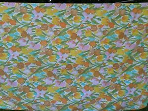 Vtg Canon Royal Family Full Flat Sheet Tulips Cutter Fabric Material READ
