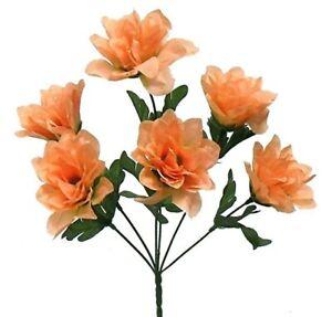 "6 Peach 3"" Dahlia Silk Flowers Wedding Artificial Fake Faux Decor Bouquet Crafts"