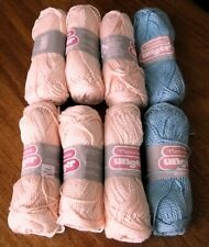 New listing 8 Skeins of Unger Plantation Yarn 6-Peach #324 2-Teal #554 Worsted 100% Cotton