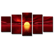 Canvas Wall Art Print Painting Photo Home Decor Picture Red Landscape Sun Framed