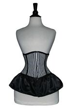 Black White Satin Cincher Under bust Skirt Corset Real Steel Bones Lace up Back