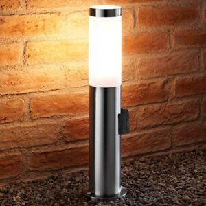 Auraglow Outdoor Stainless Steel Post Light With 240v Power Outlet Plug Socket