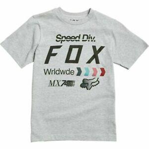 FOX RACING- YOUTH MEDIUM Murc Short Sleeve T-Shirt- Light Heather Gray
