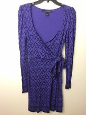 French Connection Purple Black Geometric Wrap Tie Long Sleeve Dress 6 M