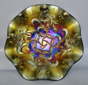 "C083 Dugan BELLFLOWER Purple Carnival Glass 6½"" Ruffled Bowl"