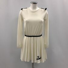 New Lanvin Dress Women's UK 14 Ivory Skater Long Sleeve Logo Short 030901