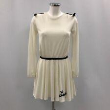 Nuevo vestido para mujer Lanvin UK 14 Marfil Patinador Corto Mangas Largas con el logotipo de 030901