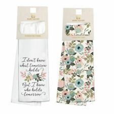 Mary Square Set of 2 Peach Floral Kitchen Tea Towels Don't Know What Tomorrow