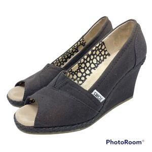 TOMS Women's 6.5 Calypso Espadrille Peep Toe Canvas Wedge Heels Black