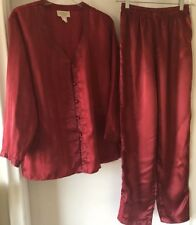 Victoria's Secret VTG Red Patterned Satin Pyjama Sleepwear Lingerie Set Small