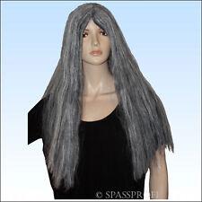 Langhaarperücke Grau für Hexe, Greisin, alte Frau, lange Perücke, Haare
