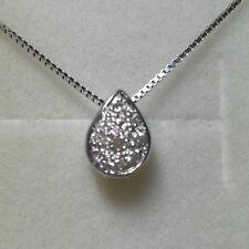 collier oro bianco con ciondolo punto luce Goccia 0,12 ct diamanti naturali