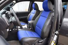 TOYOTA TACOMA 2016- BLACK/BLUE S.LEATHER CUSTOM MADE FIT FRONT SEAT COVER