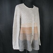 Free People M Gray Brown Button Front Sweater Wool Acrylic Angora Blend