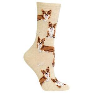 Corgi Dogs Hot Sox Women's Crew Socks Natural New Colorful Novelty Woof Fashion