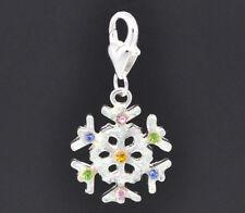Silver Rhinestone Snowflake Christmas Xmas Clip On Dangle Charm Bead