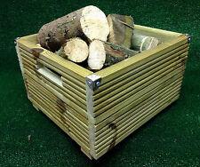 Unique Wooden Log Holder 42cm Square Heavy Duty Wood Basket Coal Fire Storage