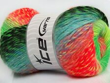 Lot of 4 x 100gr Skeins Ice Yarns REGINA LANA (30% Wool 70% Dralon) Yarn Neon...