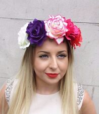 Large Purple Pink Rose Flower Garland Headband Hair Crown Festival Boho Big 2896