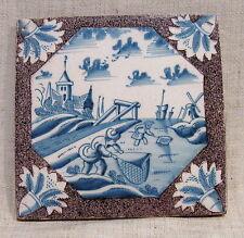 "Antique 18th Century 5"" Delft Tile with Fishermen"