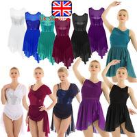 UK Women Girls Lyrical Contemporary Ballet Dress Dance Gymnastic Leotard Skirt