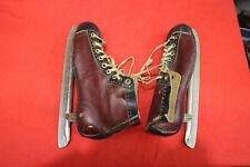 Vintage Mid Century Ice Skates Bordo / Black Boots (Size 11) on Blades Beaver