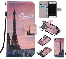 Paris Eiffel Tower wallet Leather case skin cover with strap for iphone X 8 7 LG