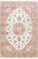 New Wool/Silk Floral Medallion Ivory 7'x10' Tebriz Oriental Area Rug Hand Made
