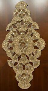 Kim Seybert Trevi Champagne/Gold Beaded ART NOUVEAU TABLE RUNNER 33.5 x 17