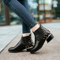 Chic Ladies Chelsea Boots Rivets Studded Patent Leather Buckle Block Heels Shoes