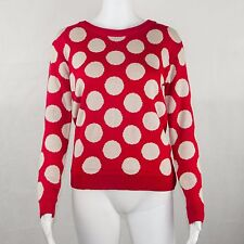 Jones New York Ladies Long Sleeve Sweater Polka Dot Red & White Size Medium