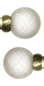 Pair Of Swish 28mm Dia Curtain Pole Etched Glass Ball Finials - Burnished Brass