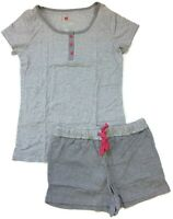 Hanes Womens Gray Striped Henley Short Pajamas Cotton Blend with Plus Sizes