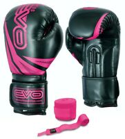 EVO Ladies Pink Maya Leather Boxing Gloves MMA Women Sparring Training Muay Thai