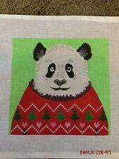 Handpainted needlepoint canvas by Danji panda bear