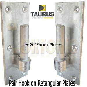 Pair Galvanised Heavy Duty Gate Field Hook On Plate Hinge Brackets 19mm Ø Pin