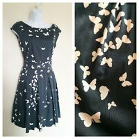 Closet Navy Dress Size 12, Butterfly Print, Cotton Rich, Party, Formal, Office