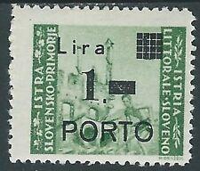 1946 ISTRIA E SLOVENO SEGNATASSE 1 SU 1 LIRA MH * - RA10-2